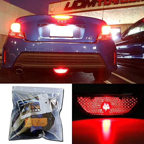 iJDMTOY Super Bright Brilliant Red LED Conversion Kit For 2014-2016 Scion tC Rear Fog Light Assy
