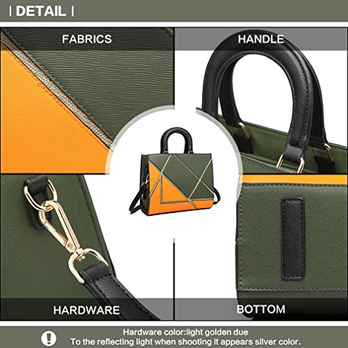 Leather Miss Green Lulu Orange Splice Hit Fashion Synthetic Handle Tote Women Colorful Bag Bag Handbags Top Color Shoulder Rectangle xF6xdrqw