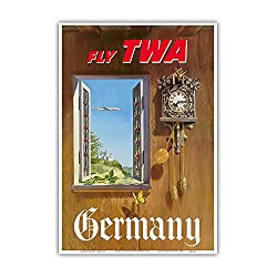 Pacifica Island Art Germany - Fly TWA (Trans World Airlines) - German Black Forest Cuckoo Clock - Vintage Airline Travel Poster by William Ward Beecher c.1952 - Master Art Print - 13in x 19in