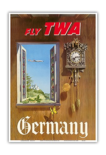 Germany - Fly TWA (Trans World Airlines) - German Black Forest Cuckoo Clock - Vintage Airline Travel Poster by William Ward Beecher c.1952 - Master Art Print - 13in x 19in (Reproduction Clock Cuckoo)