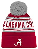 NCAA Alabama Crimson Tide Kids & Youth Boys Jacquard Cuffed Knit Hat w/Pom, Victory Red, Youth One Size