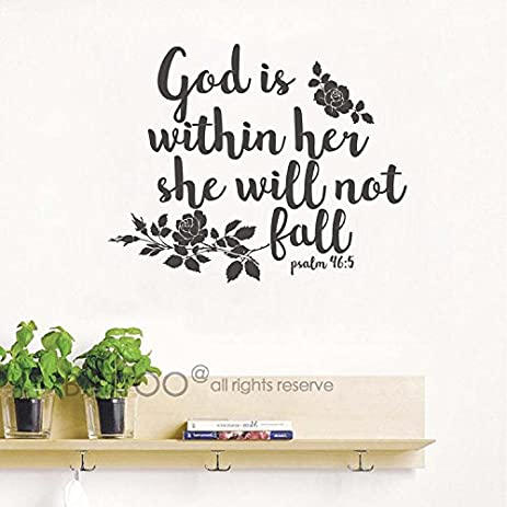 Amazoncom BATTOO Psalm Wall Decal God Is Within Her She - Wall decals bible verses