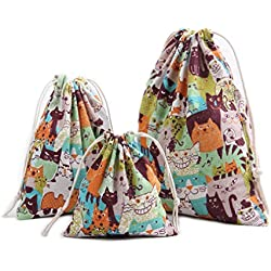 Riverer 12 PCS Colorful Cats Wedding Candy Cotton Gift Bag Pouch Sack Party Favors with Drawstring, Various Size, 25x32cm (9.8x12.6 Inches)