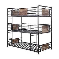 Bedroom HomeRoots Metal, Wood 79″ X 43″ X 79″ Metal and Wood Triple Bunk Bed – Twin, Sandy Black & Dark Bronze Hand-Brushed bunk beds