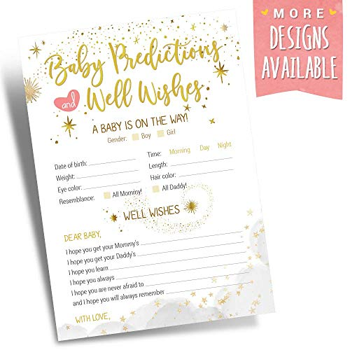 Baby Shower Prediction and Advice Cards (50 Card Set) - Gender Neutral Theme (Boy or Girl) - Gender Reveal Baby Shower Games Activities Decorations and Party Supplies