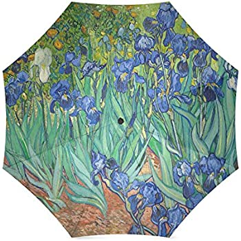 Irises By Vincent Van Gogh, Christmas Gift Folding Rain Umbrella/Parasol/Sun Umbrella