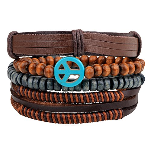 Ethnic Tribal Peace Symbol Peace Sign Multi Strand Leather Zen Bracelet Wrap Vintage Rope Wristband
