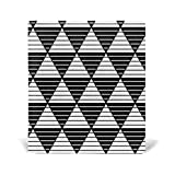 Stripe Triangles Pattern Book Covers Leather for Hardcover Textbook Jumbo School Schoolbooks Paperback Stretchable Design 9x11 inch, Black White