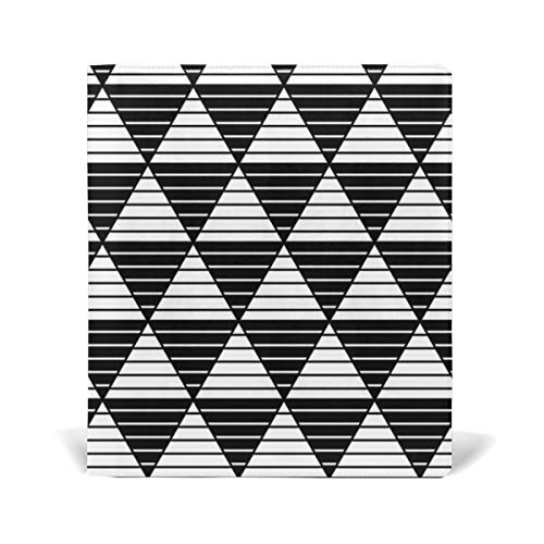 Stripe Triangles Pattern Book Covers Leather for Hardcover Textbook Jumbo School Schoolbooks Paperback Stretchable Design 9x11 inch, Black White by Senwei