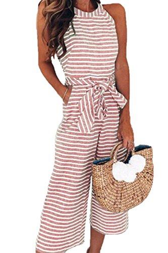 Lungo Tutine Pink Abbigliamento Collo Estivi Stripe Tuta Pantaloni Elegante Sciolto Larga Gamba Vintage Casual Overall Donna Rotondo Chic Moda Ragazza Pagliaccetto Smanicato E1wHqw