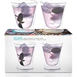 Eparé Insulated Glass Set (10 oz, 300 ml) – Double Wall Whiskey Tumbler – Cup for Drinking Bourbon, Vodka, Scotch, Cocktails, Juice, or Water – 2 Low Ball Glasses
