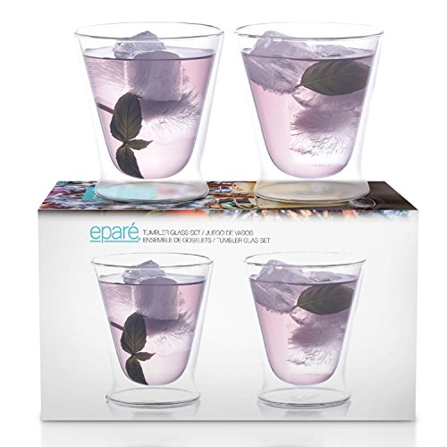 Eparé Cocktail Glasses - Insulated Glass Set - Stemless Martini Margarita Old Fashioned & Manhattan Drinking Glasses