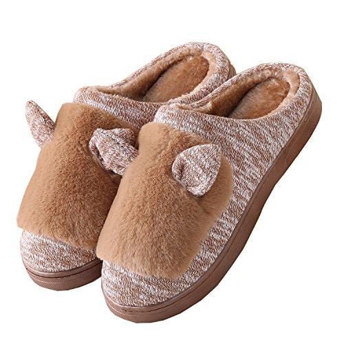 PU oídos de gato algodón zapatillas de casa-Unisexo invierno calentar felpa Botín con los zapatos tjsjz