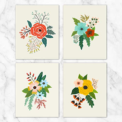 Folk Art Flowers Wall Art - Set of 4-8x10 Prints on Linen Paper - Unframed