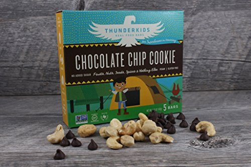 Thunderkids Real Food Bars - Chocolate Chip Cookie - Box of 5 Sugar Free Gluten Free GMO Vegan Fruit and Nut Protein Bars by Thunderbird