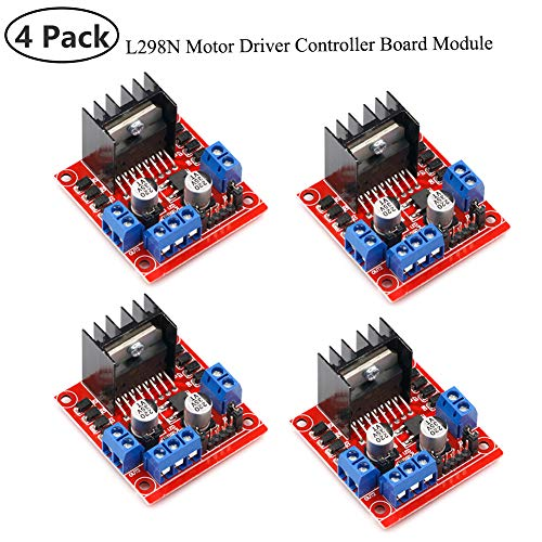 4Pack L298N Motor Drive Controller Board DC Dual H-Bridge Robot Stepper Motor Control and Drives Module for Arduino Smart Car Power UNO MEGA R3 Mega2560 (Motor Driver Arduino)