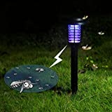 2 Packs Solar Powered LED Outdoor Yard Garden Lawn Light Waterproof Anti Mosquito Insect Pest Bug Zapper Killer Trapping LED Lamp