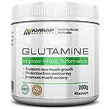 AMRAP Nutrition Vegan Glutamine Powder, 200g, High Quality, WADA Compliant, Athlete Approved (40 Servings)