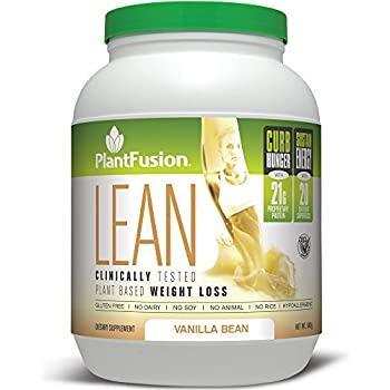 PlantFusion Lean, Clinically Tested Weight Loss Protein Powder, Vanilla Bean, No Soy or Rice, 21g Protein, 20 servings, 29.6oz Tub
