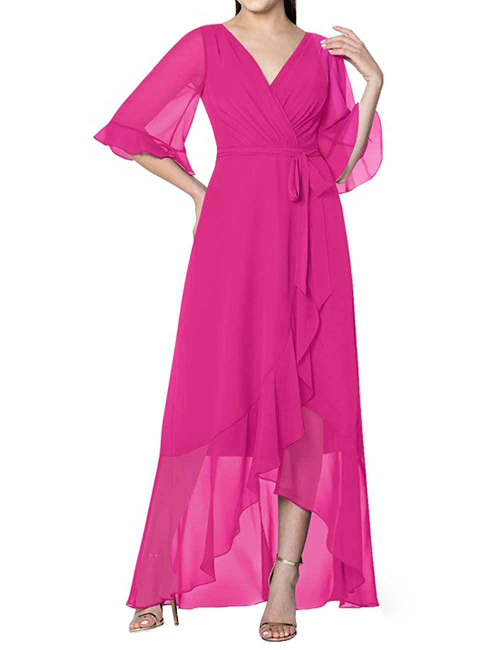Mother of The Bride Dresses Long Sleeves Formal Evening Gowns for Women High Low Chiffon Evening Dress
