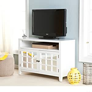 Contemporary Mirror Front White Wood TV Console