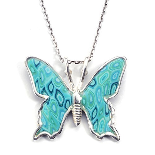 925 Sterling Silver Butterfly Necklace Pendant Polymer Clay Handmade Charm Jewellery, 16.5″