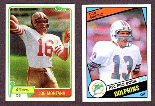 Joe Montana/Dan Marino (2) Card Lot (Montana 1981 Topps Reprint Rookie Card) (Dan Marino 1984 Topps Rookie Reprint Card) with Original Backs (San Francisco 49ers) (Miami) ()