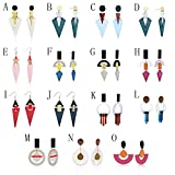 Colorful Earring,Twinsmall Zinc Alloy Geometric Acrylic Charm Triangle Dangle Stud Earring Punk Earring (15 Pair Different Style)