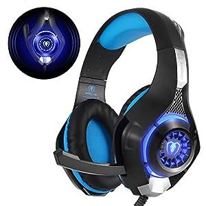Beexcellent GM-1 – Auriculares Gaming para PS4, PC, Xbox one, PlayStation – Psone, Cascos Ruido Reducción de Diademas Cerrados Profesional con Micrófono Limpio Sonido 3.5mm, Azul 51dMzUvdWxL