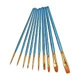 Arts & Crafts : Heartybay 10Pieces Round Pointed Tip Nylon Hair Brush Set, Blue