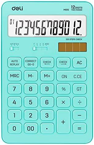 Blue Solar Battery Dual Power Office Calculator Calculator Deli Standard Function Desktop Basic Calculators with 12 Digit Large LCD Display