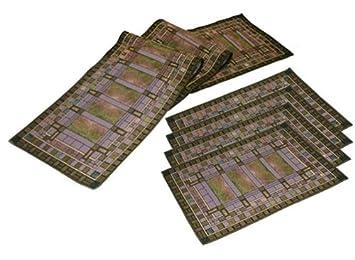 Frank Lloyd Wright Martin House Bursaru0027s Skylight Tapestry Table Runner U0026 4  Placemats Set