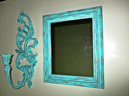 - Wall Mirror, Wall Candle Holder, Wall Sconce, Shabby Chic, Upcycled Vintage, Distressed Mirrors, SYROCO Wall Art, Mint Green, Baroque Design, Mediterranean Wall Decor, Wall Accents