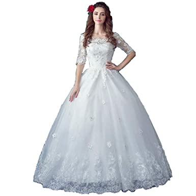 30783f6814 ANTI Vintage Embroidery Lace Ball Gown Bridal Dresses Wedding Dresses at Amazon  Women s Clothing store