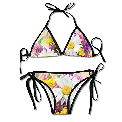 - SHBIKINS Unique Daisies Flowers Clover Flower Vase Padded Top Bottom Bikini Swiming Suit Two Piece Suits