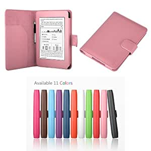 "Exact PU Leather Folio Case for Amazon Kindle Paperwhite (6"" High Resolution Display with Built-in Light), Light Pink (with Auto Sleep/Wake)"