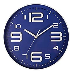Bien-Zs Non-Ticking Silent Quartz Wall Clock with Big 3D Number Modern Design Quiet Sweep Movement Indoor Decorative for Living Room Kitchen Wall Clocks Battery Operated 10-Inch Blue