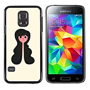 Paccase / SLIM PC / Aliminium Casa Carcasa Funda Case Cover - Portrait Girl Art Black Hair Wavy Style - Samsung Galaxy S5 Mini, SM-G800, NOT S5 REGULAR!