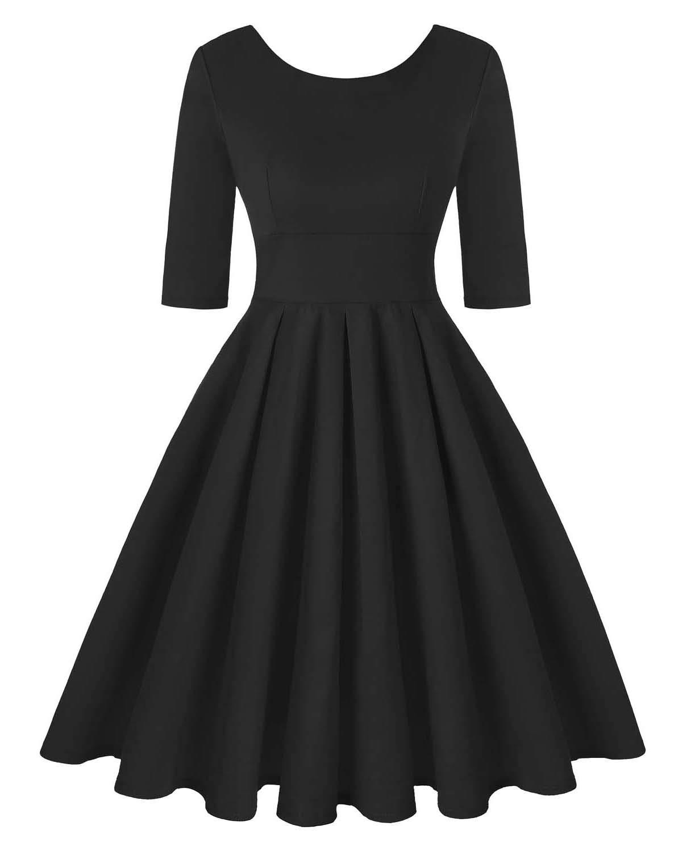 Women's Retro Floral Dress Vintage Style Cocktail Party Swing Dresses (Plain Black,Size L) by MINTLIMIT