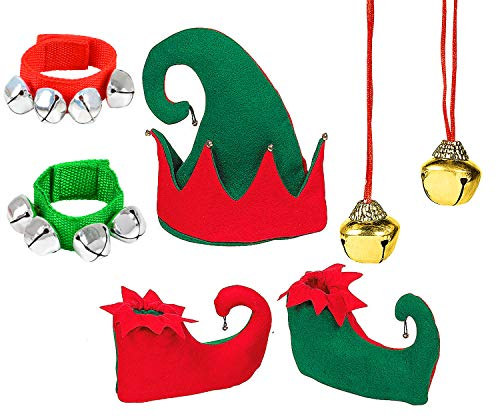 4E's Novelty Christmas Elf Hat Jingle Bell Red and Green Costume Accessory Set for Kids, Holiday Xmas Headwear, Pair Elf Shoes, Jingle Bell Bracelets Jingle Bell Necklaces -