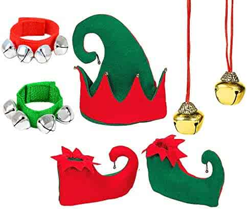 4E's Novelty Christmas Felt Elf Hat Shoes Jingle Bell Red and Green Costume Accessory Set for Kids, Holiday Xmas Headwear, Pair Elf Shoes, Jingle Bell Bracelets Jingle Bell Necklaces
