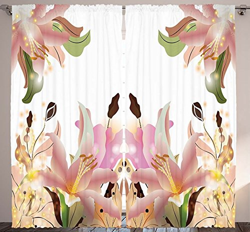Floral Curtains Artwork Home Decor Lilies Flowers Leaves