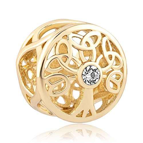 CandyCharms Tree Life April Birthstone Celtic Knot White Crystal Gold Plated Charm Bead Bracelets