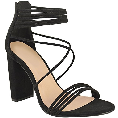 Fashion Thirsty Womens Strappy Block High Heel Peep Toe Chunky Evening Shoes Black Faux Suede