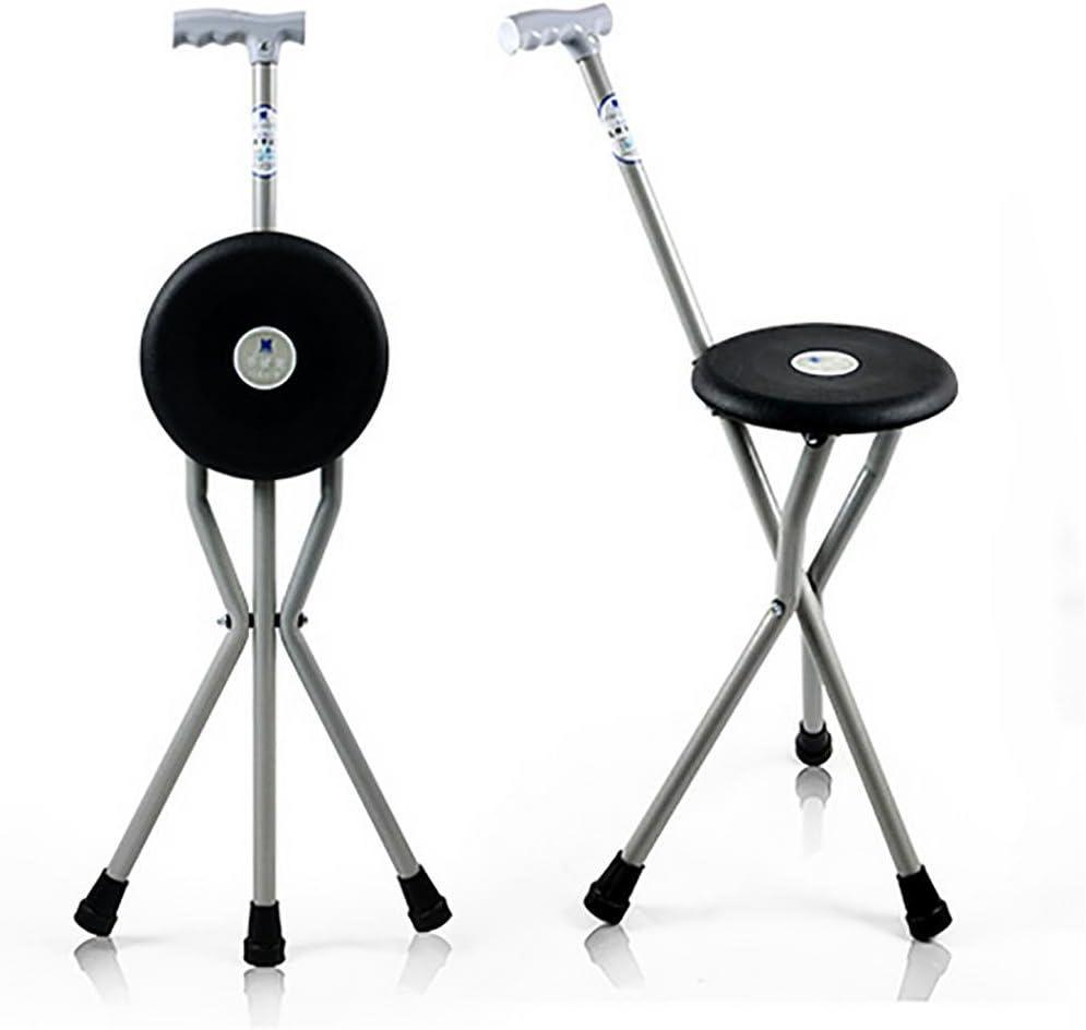 XUAN Plegable portátil de viaje bastón senderismo asiento de campamento taburete silla asiento silla plegable médico de taburete de caña negro