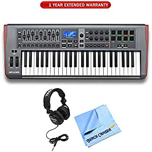 Novation Impulse 49 USB Midi Controller Keyboard, 49 Keys (AMS-IMPULSE-49) with 1 Year Extended Warranty, Professional Headphones & 1 Piece Micro Fiber Cloth