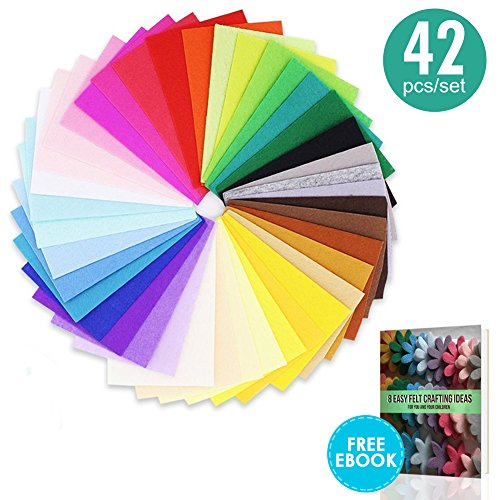 42 Pcs, 8x12 Inch (20x30 cm) Craft Felt Sheets, Assorted Color 1mm Thick Felt Fabric Squares, Nonwoven Fabric Sheet Pack for DIY Craft Patchworks Sewing by My CraftFelt