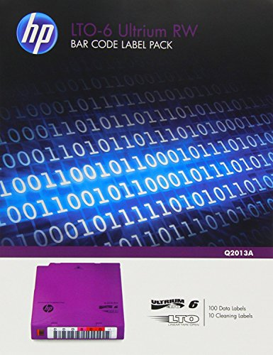 100 Data Cartridge Label - HP LTO-6 Ultrium RW Bar Code Label Pack