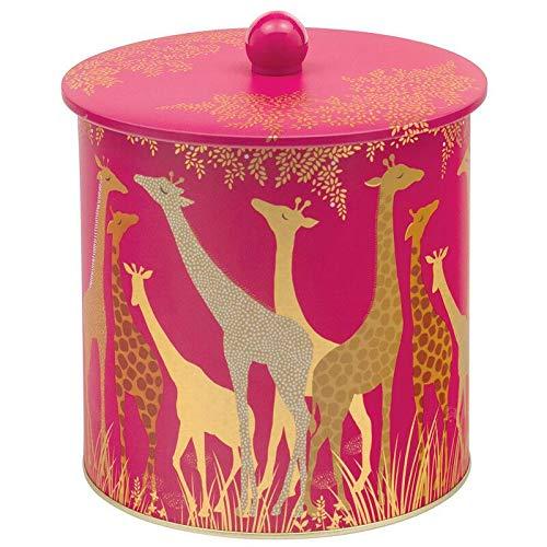 (Sara Miller Pink Giraffe Biscuit Barrel Cookie Storage Tin Canister)