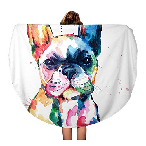 French Beach Towel - Pinbeam Beach Towel Frenchie French Bulldog Original Watercolor of Dog Funny Travel 60 inches Round Tapestry Beach Blanket